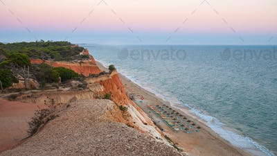 Falesia Beach seen from the cliff at dusk