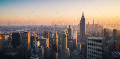 Manhattan Skyline at Sunset, New York City, United States of Ame