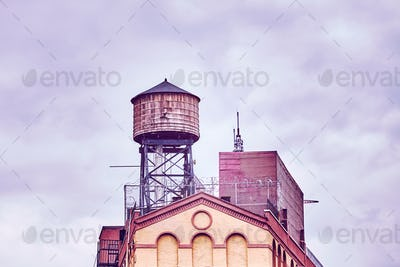 Rooftop water tank on a building in New York City.