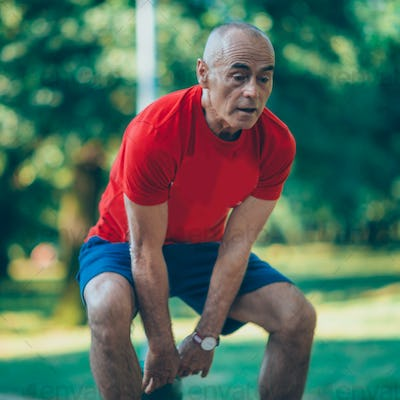 Outdoor exercising senior