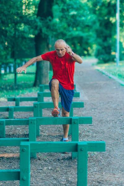 Outdoor exercising senior
