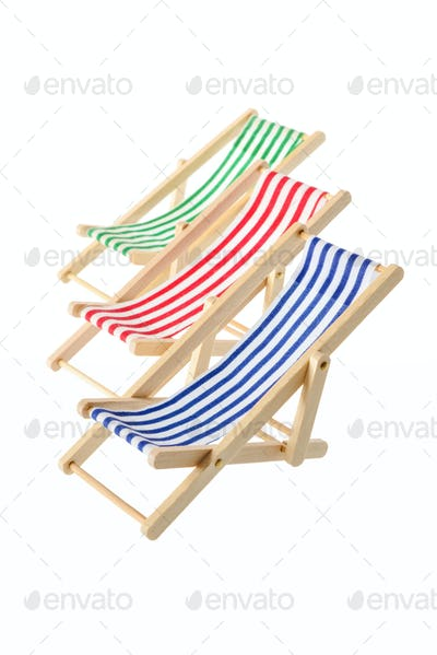 Striped deck chairs