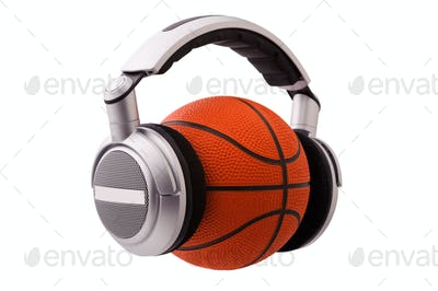 Headphones on a basketball ball