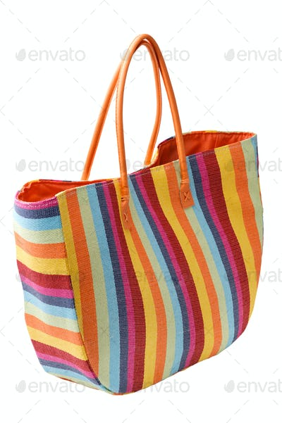 Colorful striped beach bag