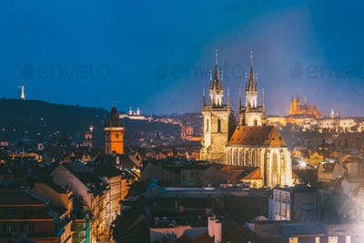 Prague, Czech Republic. Evening Cityscape Of Old Center. Famous