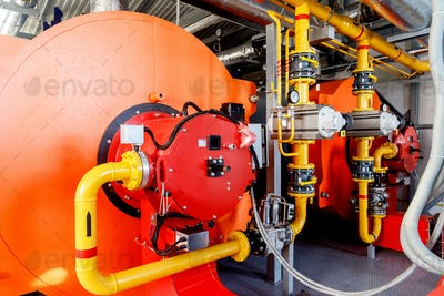 Contemporary industrial powerful water boiler with gas burner and automatic control systems