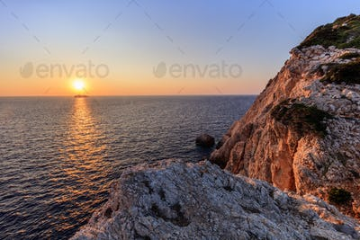 sunset in Cape Doukato. Lefkada island