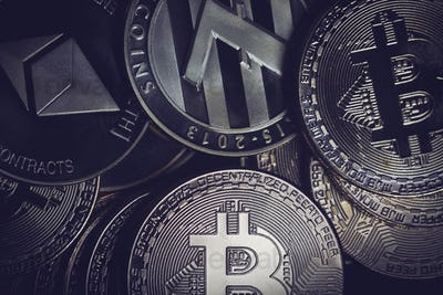 closeup of golden cryptocurrency coins