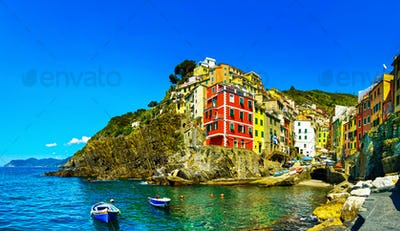 Riomaggiore town, cape and sea landscape. Cinque Terre, Liguria,