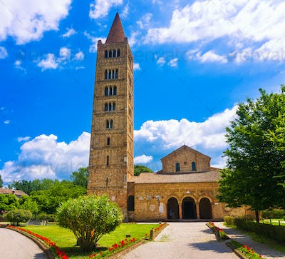 Pomposa Abbey, medieval church and campanile tower. Codigoro Fer