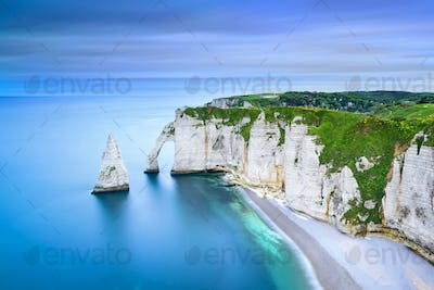 Etretat Aval cliff and rocks landmark and ocean . Normandy, Fran