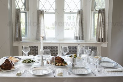 A table at a Jewish home set for the Shabbat meal