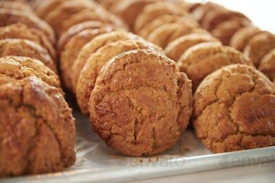 Display Of Freshly Baked Cookies In Coffee Shop