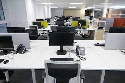 Workstation in an empty open plan office