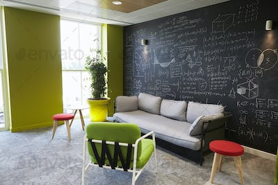 Casual meeting lounge area in an empty business premises