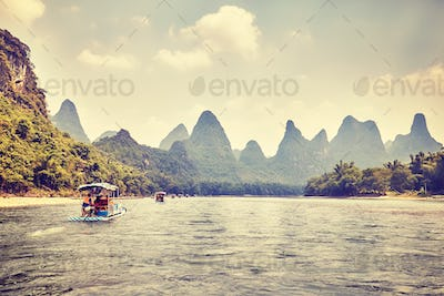 Li River (Li Jiang) with bamboo rafts, China.