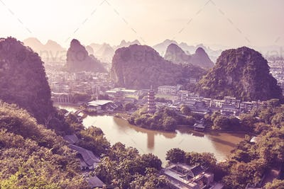 Sunset over Karst mountains formations in Guilin, China.