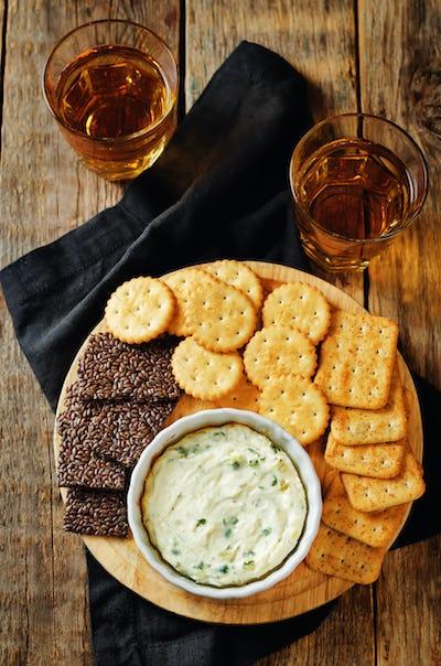 Parsley garlic warm ricotta cheese dip