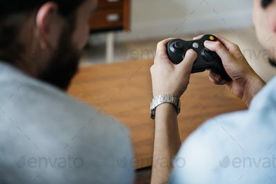 Friends playing video games