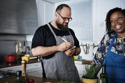 Diverse people joining cooking class