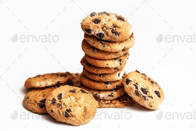 Homemade chocolate chips cookies isolated on white background.