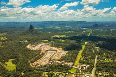 Aerial view of Glasshouse Mountains on the Sunshine Coast, Austr