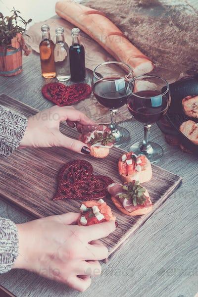 Romantic dinner. Love. Bruschetta set
