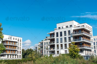 Housing development area with new apartment house