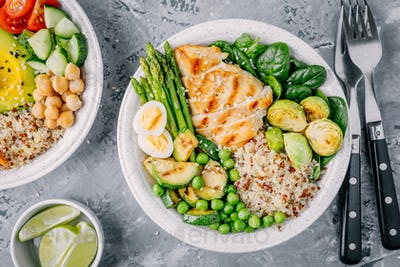 Bowl with chicken and quinoa, spinach, egg, zucchini, asparagus, Brussels sprouts and green peas