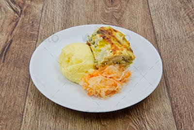 Leek lasagna and potato mash on a table