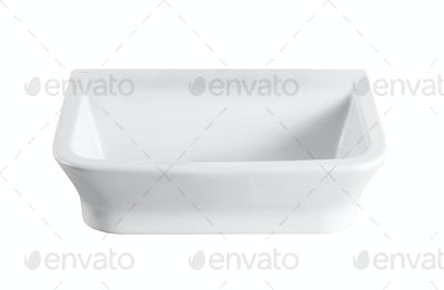 White empty ceramics baking dish on white