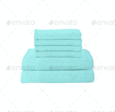 blue folded towels on white