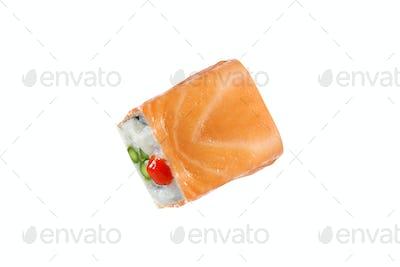 Japanese sushi rolls isolated on white