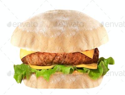 Big hamburger on white