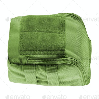 Military backpack isolated on white background
