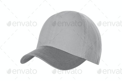 White Baseball Hat Isolated on White Background