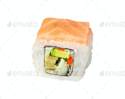 a sushi roll isolated on white background