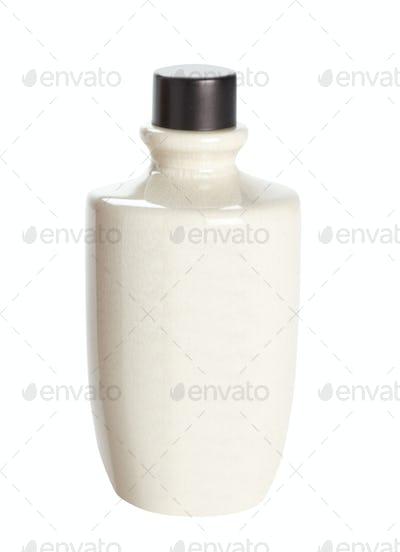 white earthenware bottle
