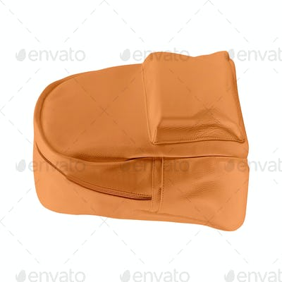 Orange color backpack isolated on white