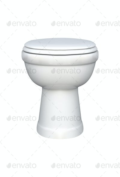 White toilet bowl, isolated on white