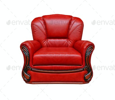 red leather armchair isolated on white