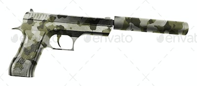 handgun with the long magazine and silencer isolated