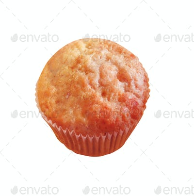 cup cake closeup isolated on white background.