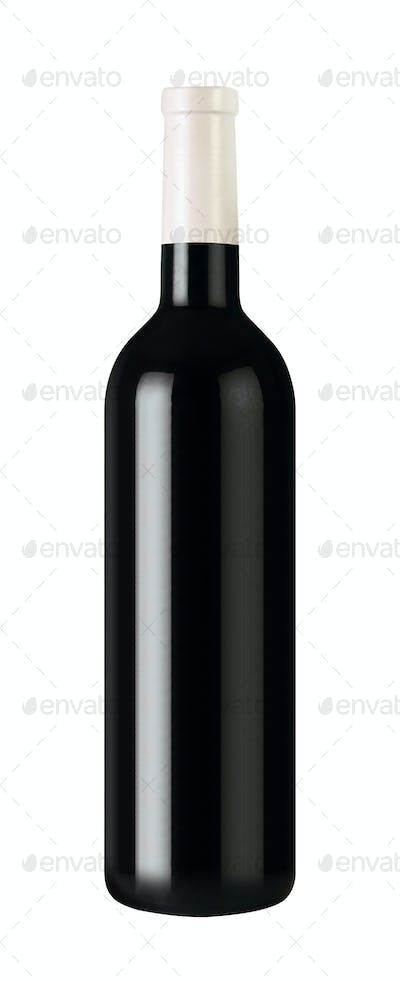 bottle with red wine isolated on white background