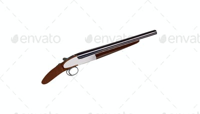 Lupara - a sawn-off shotgun isolated on white