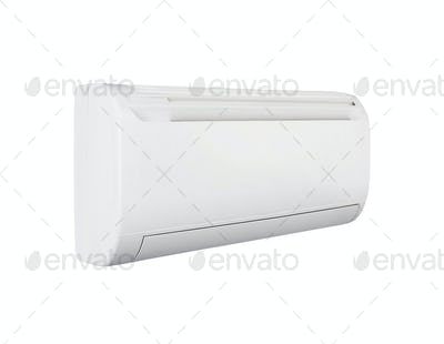 White color air conditioner machine isolated on White background