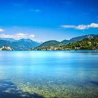 Orta Lake landscape. Orta San Giulio village and island Isola S.