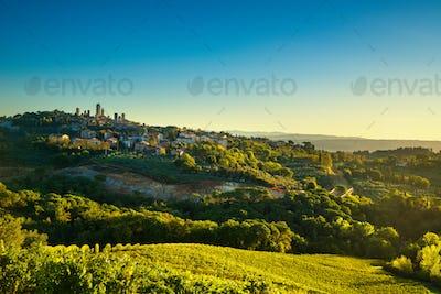 San Gimignano panoramic medieval town towers skyline and vineyar