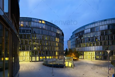 Modern Office Buildings At Night, Germany