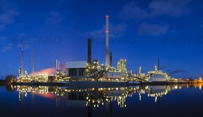 Oil Refinery Panorama At Night